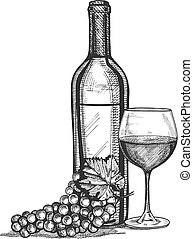 a wine glass, bottle and grapes bunch still life