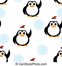 Vector illustration of a winter pattern with snowflakes and little penguins. Baby penguin with his hand raised and a cap of Santa Claus on a white background. Winter seamless pattern.
