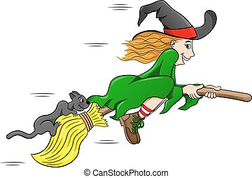 witch and her cat flying on a broom