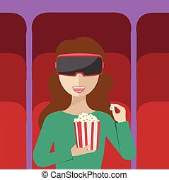 Vector illustration of a woman sitting in the auditorium and watching movie with virtual reality glasses. - VR