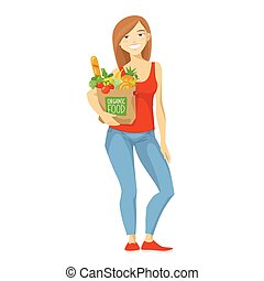 Vector illustration of a woman with shopping paper bag.