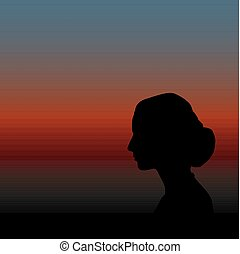 vector illustration of a woman's silhouette with tied hair