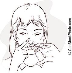 Vector illustration of a women using nasal spray medication