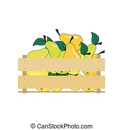Vector illustration of a wooden box with yellow pears. Crate isolated on white background.