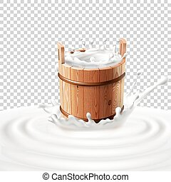 Vector illustration of a wooden bucket with milk standing in the center of a dairy splash.