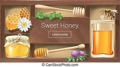 Vector illustration of a wooden rack with honey, a template...