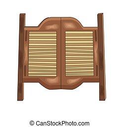 Vector illustration of a wooden saloon door. Cartoon style. Wild west theme.