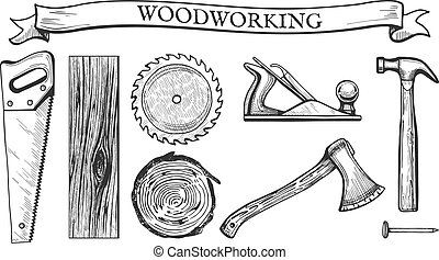 woodworking objects set