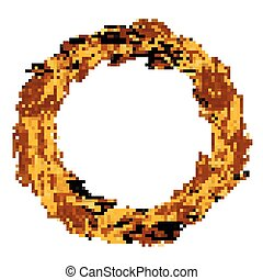 Vector illustration of a wreath of wheat spikelets.