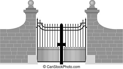 illustration of a wrought iron gate