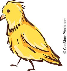 Vector illustration of a yellow canary bird on white background.