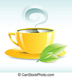 vector illustration of a yellow cup of hot tea grain pairs -...