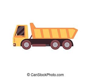 Vector illustration of a yellow dump truck. - Illustration ...