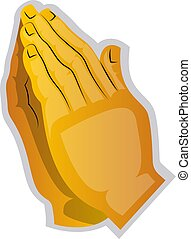 Vector illustration of a yellow hands praying on a white background
