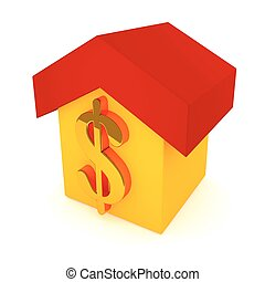 Vector illustration of a yellow house with a red roof and golden