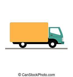 vector illustration of a yellow truck on white background