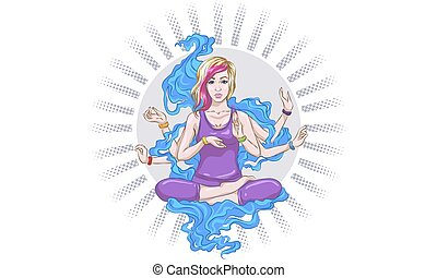 Vector illustration of a yoga girl in a lotus pose. The girl is engaged in yoga, reaches enlightenment. Four-armed goddess, entrance to catharsis.