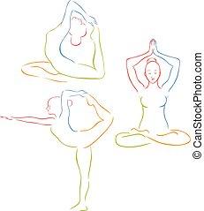 vector illustration of a  yoga, pilates big set of vector symbols