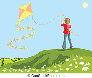 vector illustration of a young boy flying a kite from a grassy hilltop