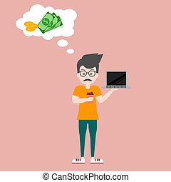 vector illustration of a young male guy thinking at work about d
