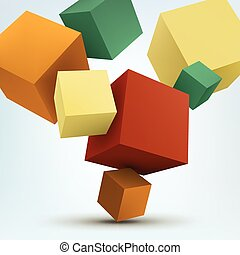 Vector Illustration of abstract 3d cubes.
