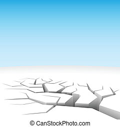 Vector illustration of abstract 3D land cleft