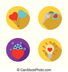 Vector illustration of abstract and shape symbol. Set of abstract and love vector icon for stock.