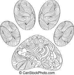 animal paw print on white background - vector illustration...