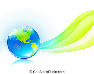 glossy earth globe - Vector illustration of abstract...