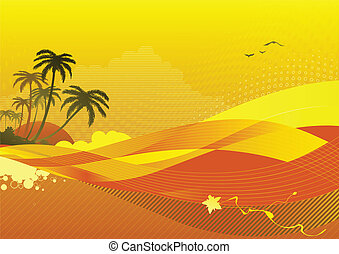 ocean coast - Vector illustration of abstract background ...