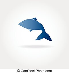 Vector illustration of abstract blue fish.