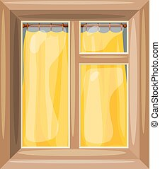 Vector illustration of abstract Cartoon windows with yellow curtain on a white background.