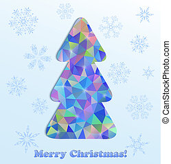 abstract christmas tree and snowflakes