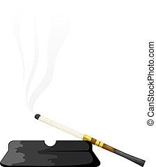 Vector illustration of abstract elegant vintage mouthpiece with ashtray on a white background. Cigarette in