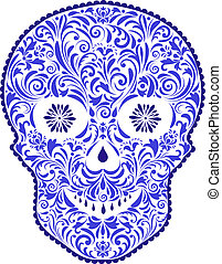 abstract floral skull - Vector illustration of abstract...
