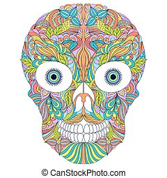 abstract  floral skull on white background.