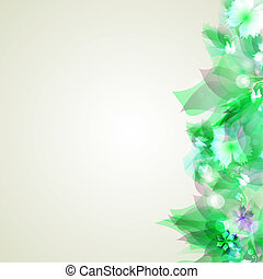 Abstract flowers on a light background in green