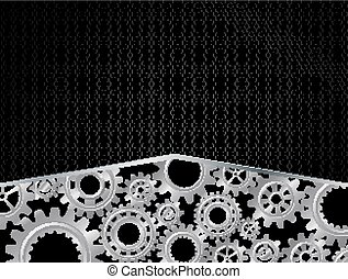 Abstract Gears concept on Black