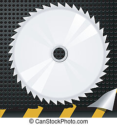Vector illustration of abstract metal background with a circular saw