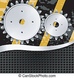 Vector illustration  of abstract metal background with gears