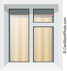 Vector illustration of abstract modern plastic windows with yellow curtain. Realistic image of isolated box on white background.
