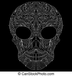 abstract skull on black background.