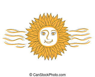Vector Illustration of Abstract Sun With Flames