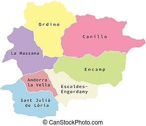 Vector illustration of administrative division map of Andorra. Vector Andorra map.