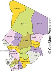 Vector illustration of administrative division map of Chad.