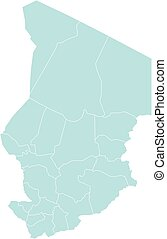 Vector illustration of administrative division map of Chad. Vector map.