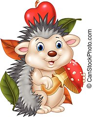 Adorable baby hedgehog - Vector illustration of Adorable...