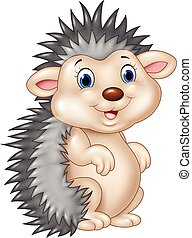 Adorable baby hedgehog sitting - Vector illustration of ...