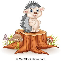 Adorable baby hedgehog sitting - Vector illustration of...
