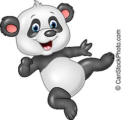 Adorable baby panda isolated - Vector illustration of ...